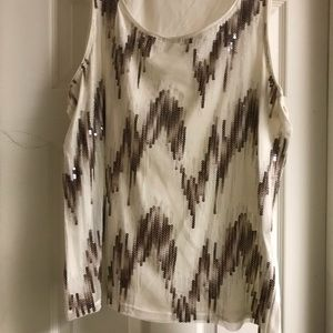 Chico's sequined tank in taupe and ivory